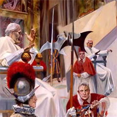 BACON'S SELF PORTRAIT AS INNOCENT X WITH JOHN PAUL II IN THE STYLE OF DURAND (detail) (1996)