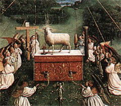 Jan van Eyck The Ghent Altarpiece (detail): Adoration of the Lamb 1425-29 Cathedral of St Bavo, Ghent